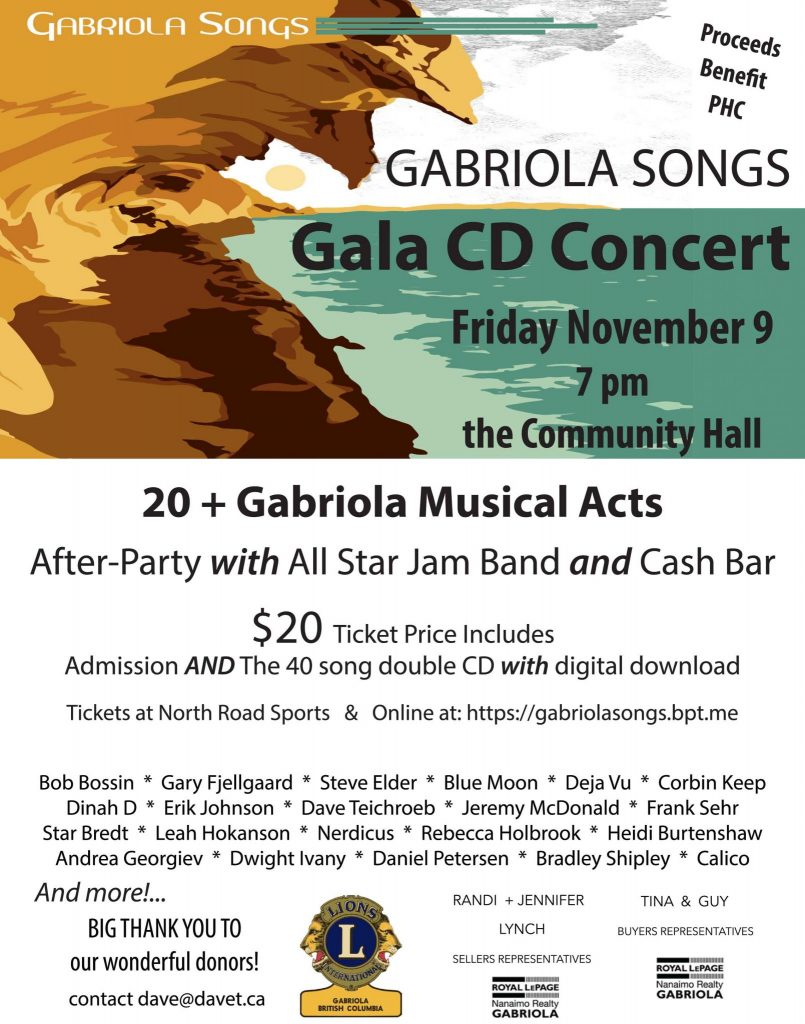 CD Release Concert Poster for Gabriola Songs