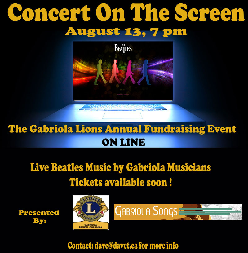 Tickets for Concert On The Screen, Concert On The Screen, Gabriola Lions, Gabriola Music, Gabriola Musicians, Gabriola Fundraiser